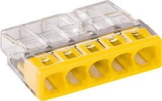 WAGO Transparante lasklem 5 voudig geel - doos á 100 stuks
