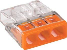 WAGO Transparante lasklem 3 voudig oranje- doos á 100 stuks