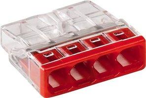 WAGO Transparante lasklem 4 voudig rood - doos á 100 stuks